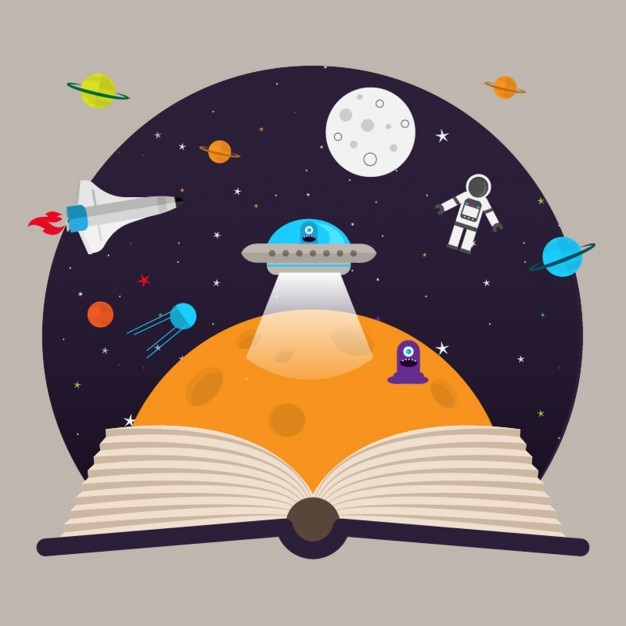 Kids imagination space ship and aliens Free Vector