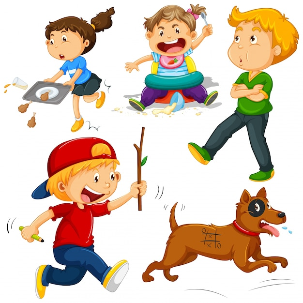 Kids in different actions illustration Free Vector