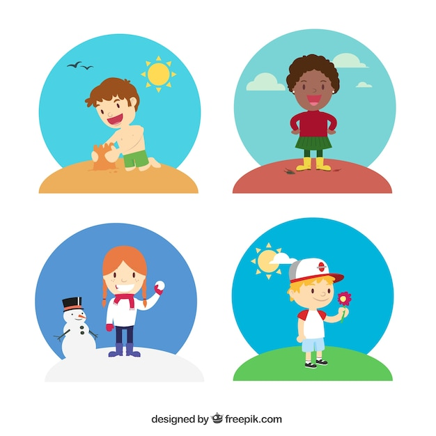 Kids in different seasons Vector | Free Download