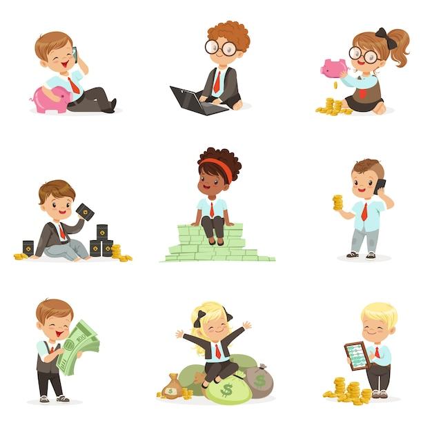 Дети в финансовом бизнесе набор милых мальчиков и девочек, работающих в качестве бизнесмена, занимающихся большими деньгами Premium векторы