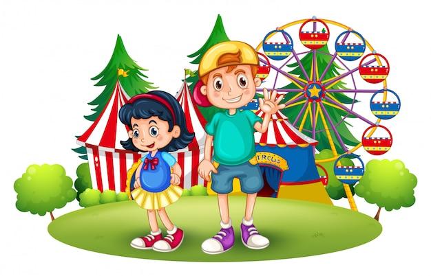 Дети перед ярмаркой Бесплатные векторы