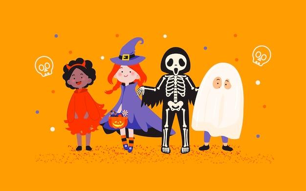 オレンジ色の背景イラストをハロウィーンコスチュームパーティーの子供たち Premiumベクター