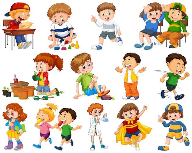 Дети в большой группе исполняют наши разные роли Бесплатные векторы