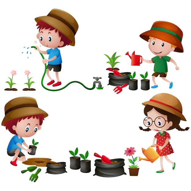 Kids in the garden design Free Vector