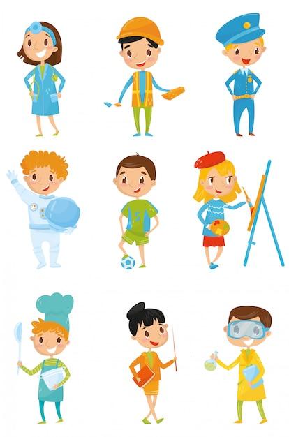 다양한 의상을 입은 아이들. 어린이의 꿈 직업 의사, 건축업자, 경찰관, 우주 비행사, 축구 선수, 화가, 요리사 밥솥, 교사, 화학자. 경력의 날. 플랫 프리미엄 벡터