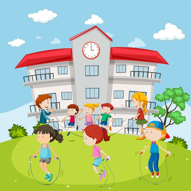 Kids jumping rope at the school ground Free Vector