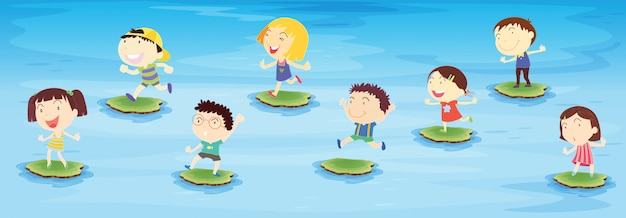 Kids jumping Free Vector