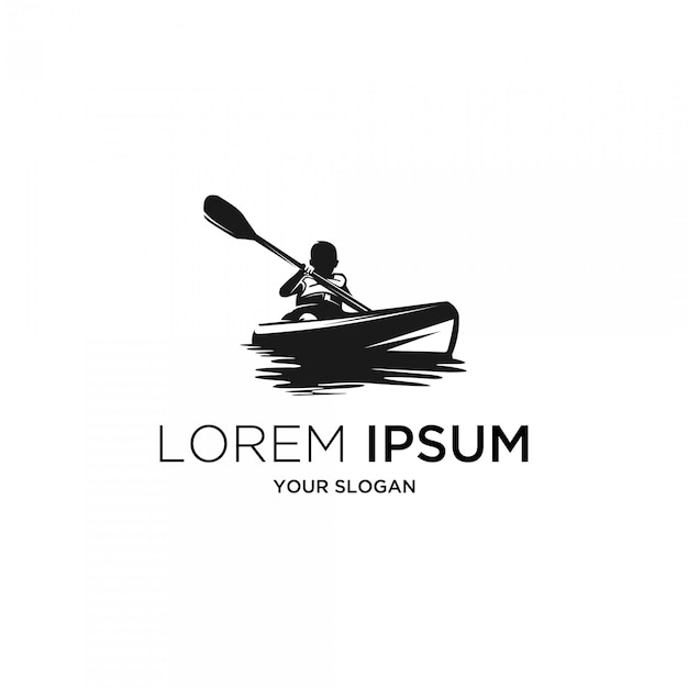 Kids kayak silhouette logo Premium Vector