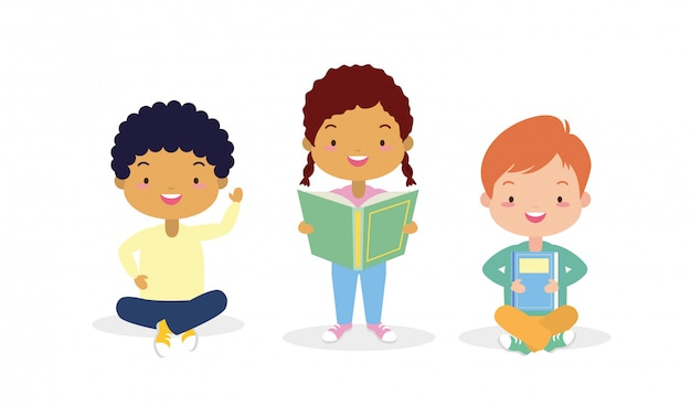 Kids in kid in world book day Free Vector
