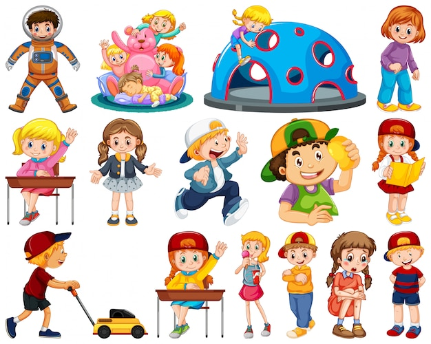 Kids in large group acting our varoous roles Premium Vector