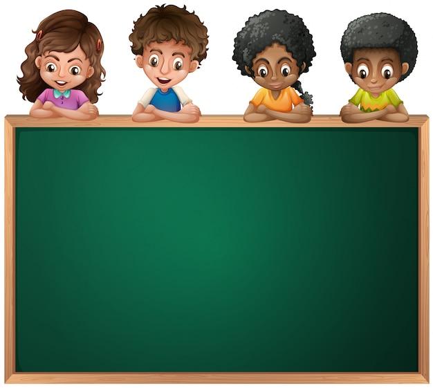 Kids leaning over the empty blackboard Premium Vector