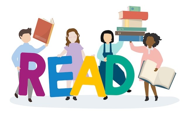Kids leaning to read english Free Vector