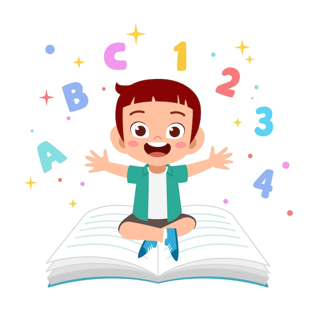 Kids learn to read illustration Premium Vector