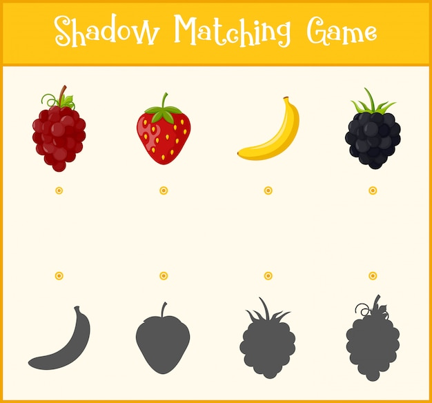 Kids learning game, shadow matching game Premium Vector