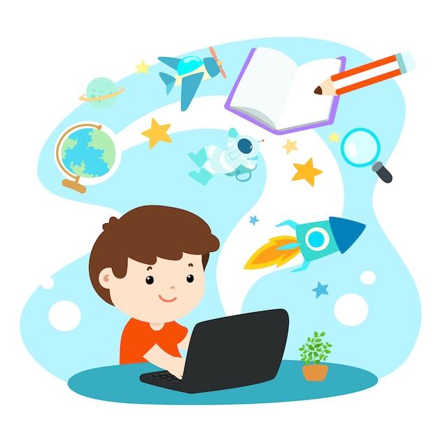 Kids Learning Online Education Premium Vector