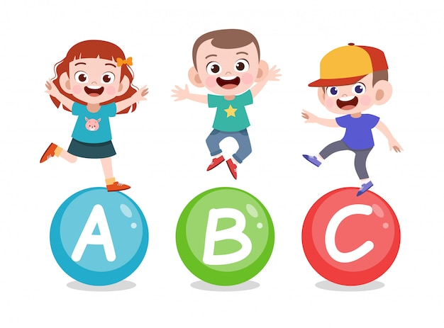Kids letter lesson Premium Vector