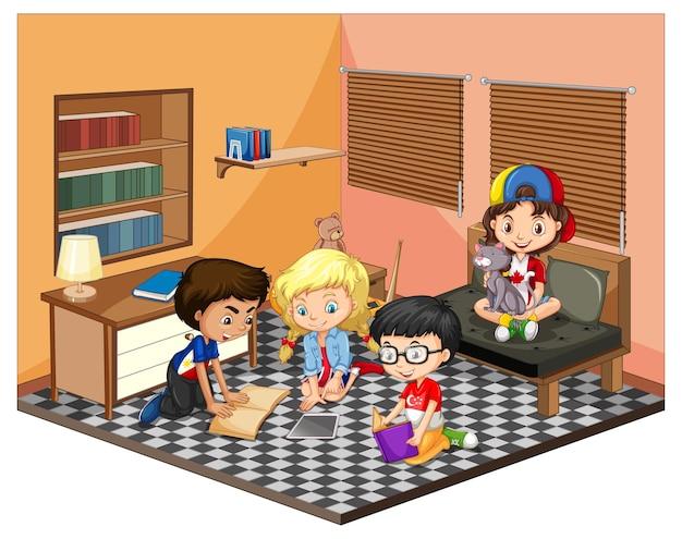 Bambini nella scena del soggiorno su bianco Vettore gratuito