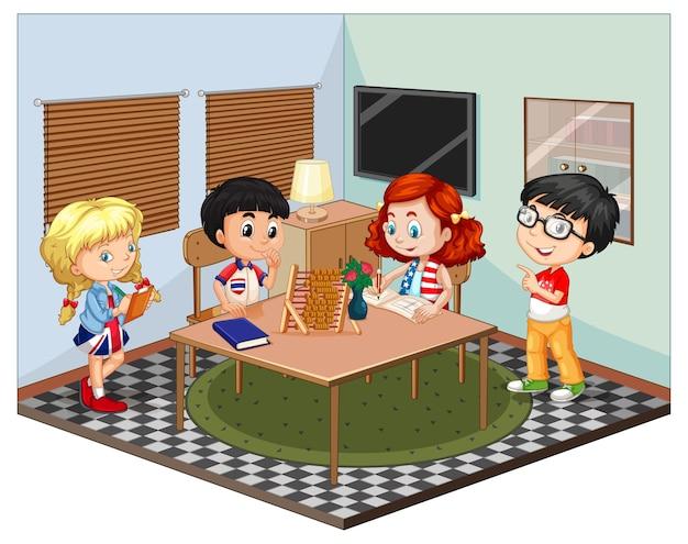 Bambini nella scena del soggiorno Vettore gratuito