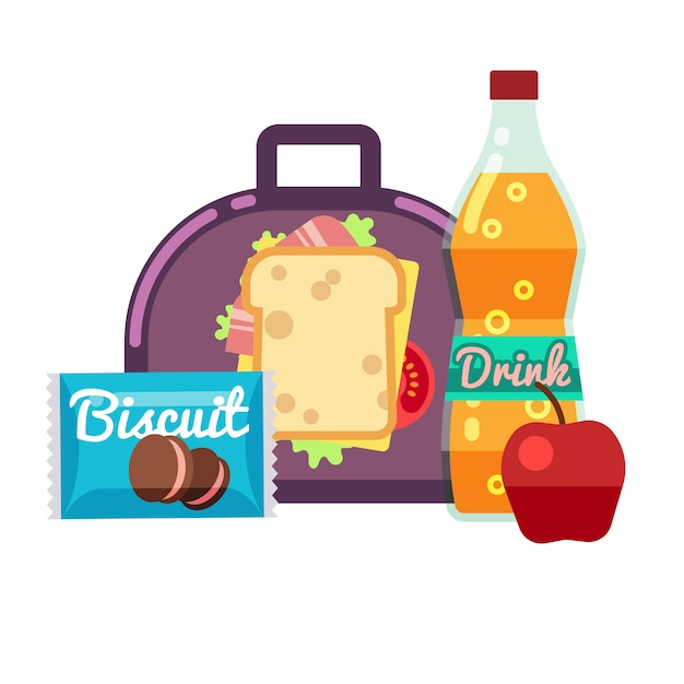 Kids lunch box, bag with snacks, meal and beverages stock. lunchbox sandwich, drink with apple Premium Vector