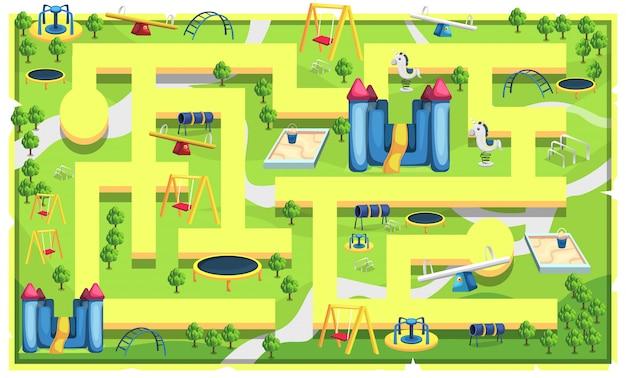 2d 게임 플랫 포머 일러스트레이션을위한 경로 및 참조 톱, 모래 수영장 장난감, 회전 목마, 스윙 및 트램펄린이있는 어린이지도 놀이터 프리미엄 벡터
