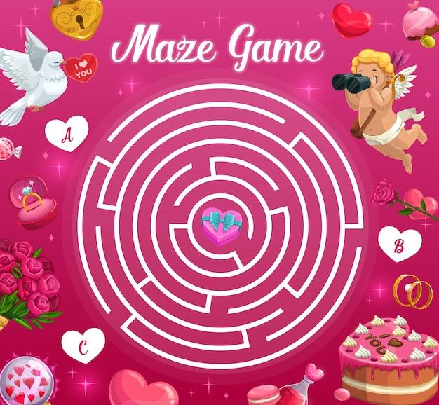 Детский лабиринт игра на день святого валентина Premium векторы