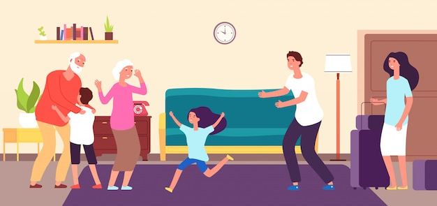 Kids meet grandparents. grandson granddaughter hug grandma grandpa. grandchildren grandfather grandmother happy family vector concept Premium Vector