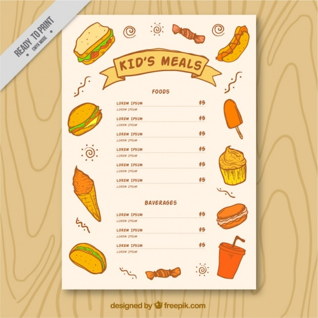 Kids menu brochure with sketches of delicious food