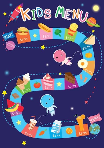 Kids menu space game Premium Vector