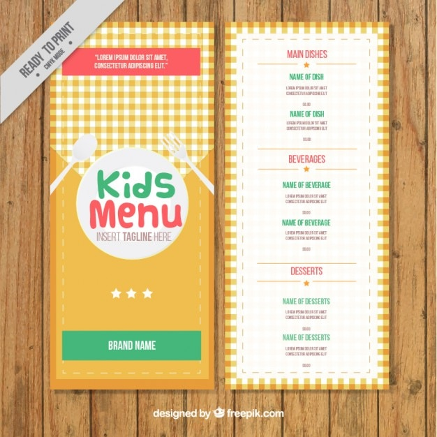 Kids Menu Template With A Cloth Free Vector  Free Kids Menu Templates