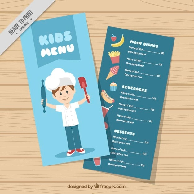 Kids menu template with chef Vector – Free Kids Menu Templates