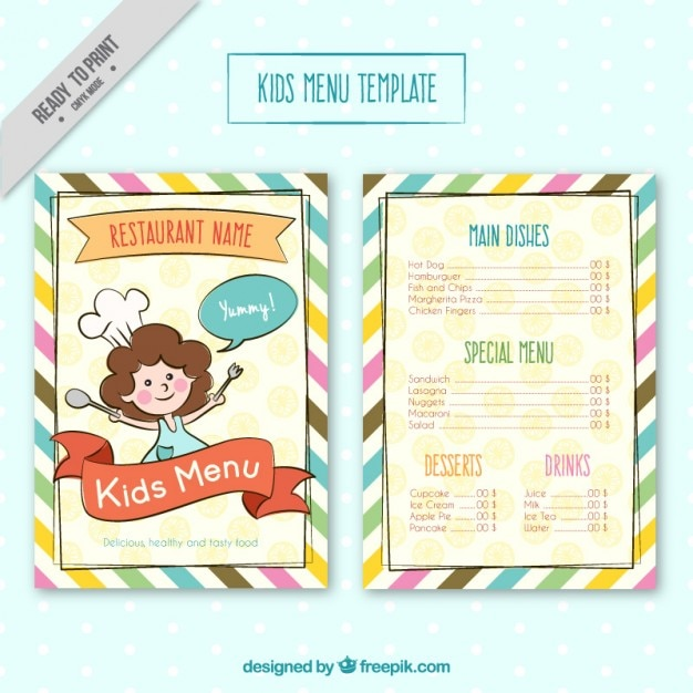 Kids Menu Template With Colores Stripes Free Vector  Kids Menu Templates