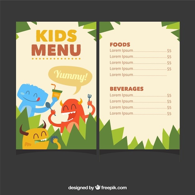 Kids Menu Template With Cute Monsters Free Vector  Free Kids Menu Templates