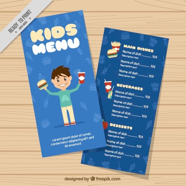 kids menu template vector free download