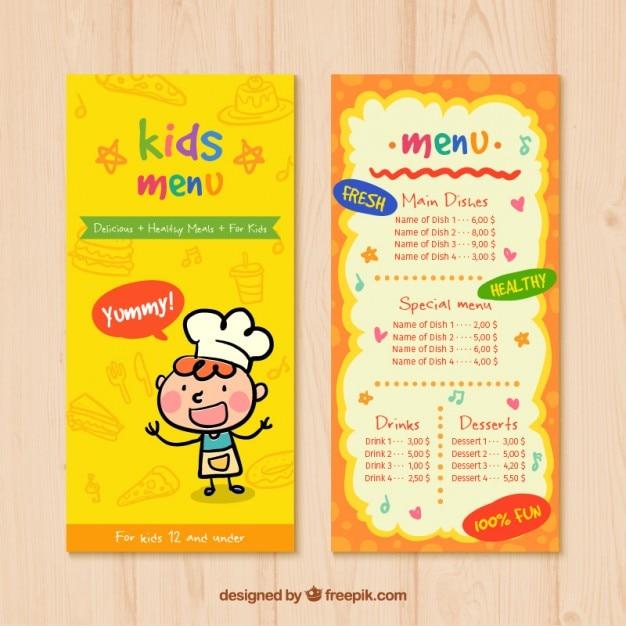 Kids Menu With Drawings Vector Premium Download
