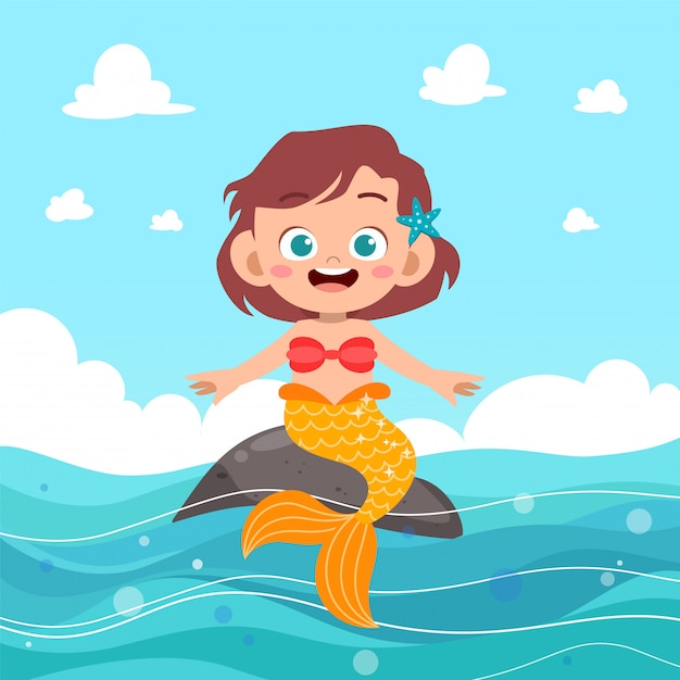 Kids mermaid Premium Vector