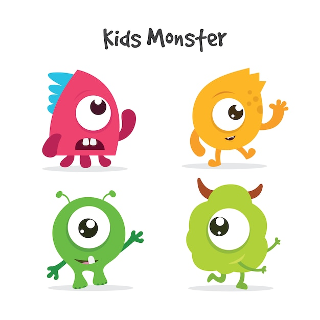 Kids monsters collection Free Vector
