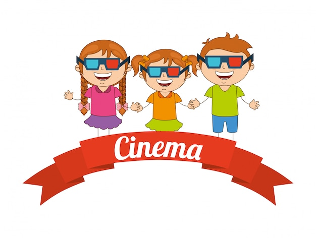Kids moviegoers Premium Vector
