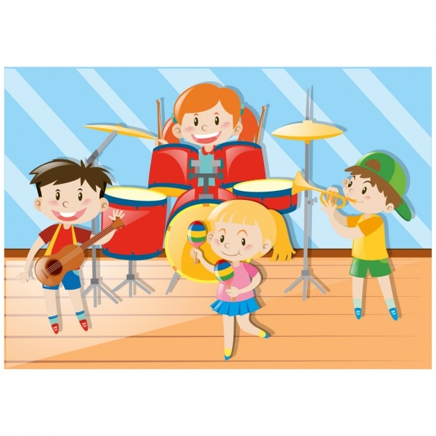 Kids music band design Vector | Free Download