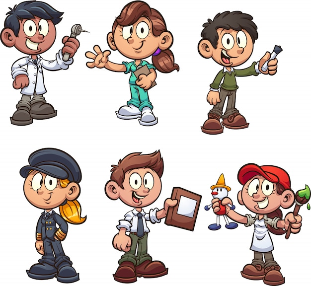 Kids_occupations Premium Vector