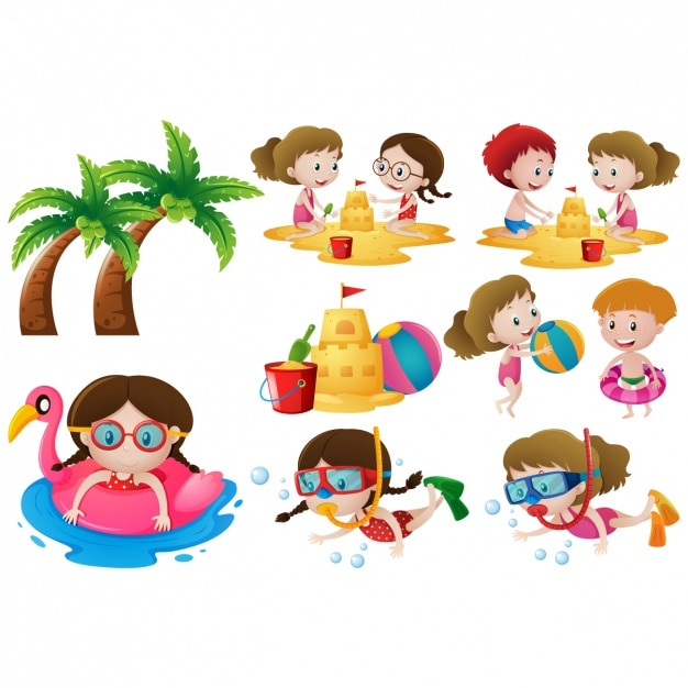 Kids On The Beach Designs Collection Vector Free Download