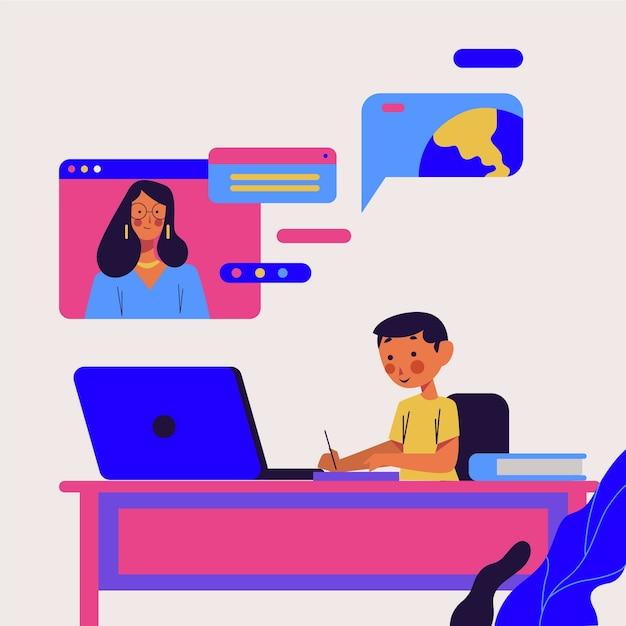 Концепция детских онлайн-уроков Бесплатные векторы