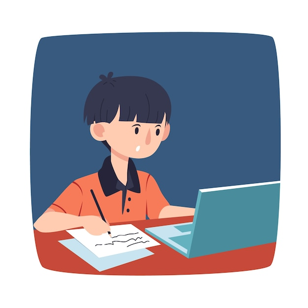 Kids online lessons concept Free Vector