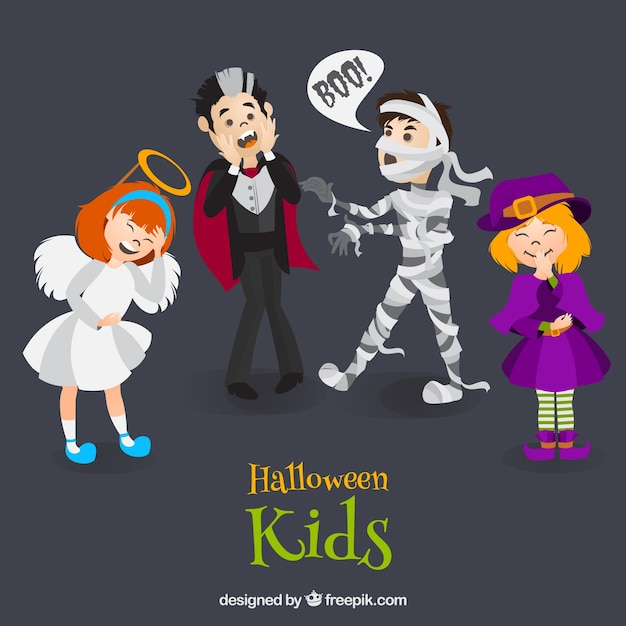 Kids pack with funny costumes Free Vector