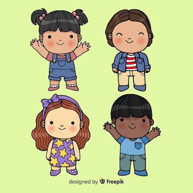 Детский мультфильм kids pack Бесплатные векторы