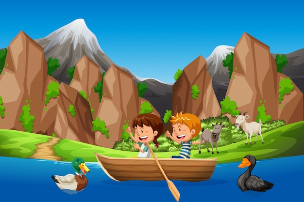 Kids paddle boat in nature Premium Vector