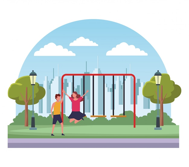 Kids at park cartoons Premium Vector