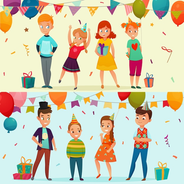 Kids party banner set Free Vector