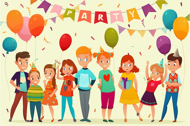 Kids party composition Free Vector
