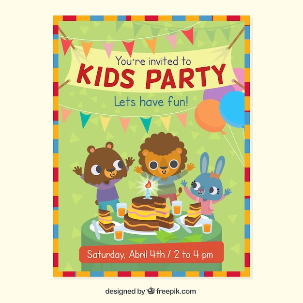 kids party invitation with animals vector free download