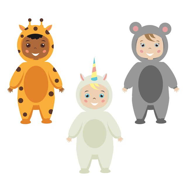 Kids party outfit. cute smiling happy children in animal carnival costumes. giraffe, mouse, unicorn costume Premium Vector